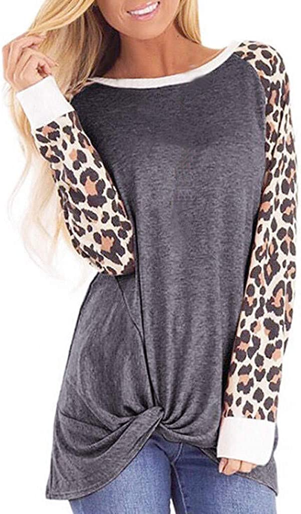 Womens Loose Round Neck Blouse Tops Long Sleeve Leopard Print Shirt Tunic