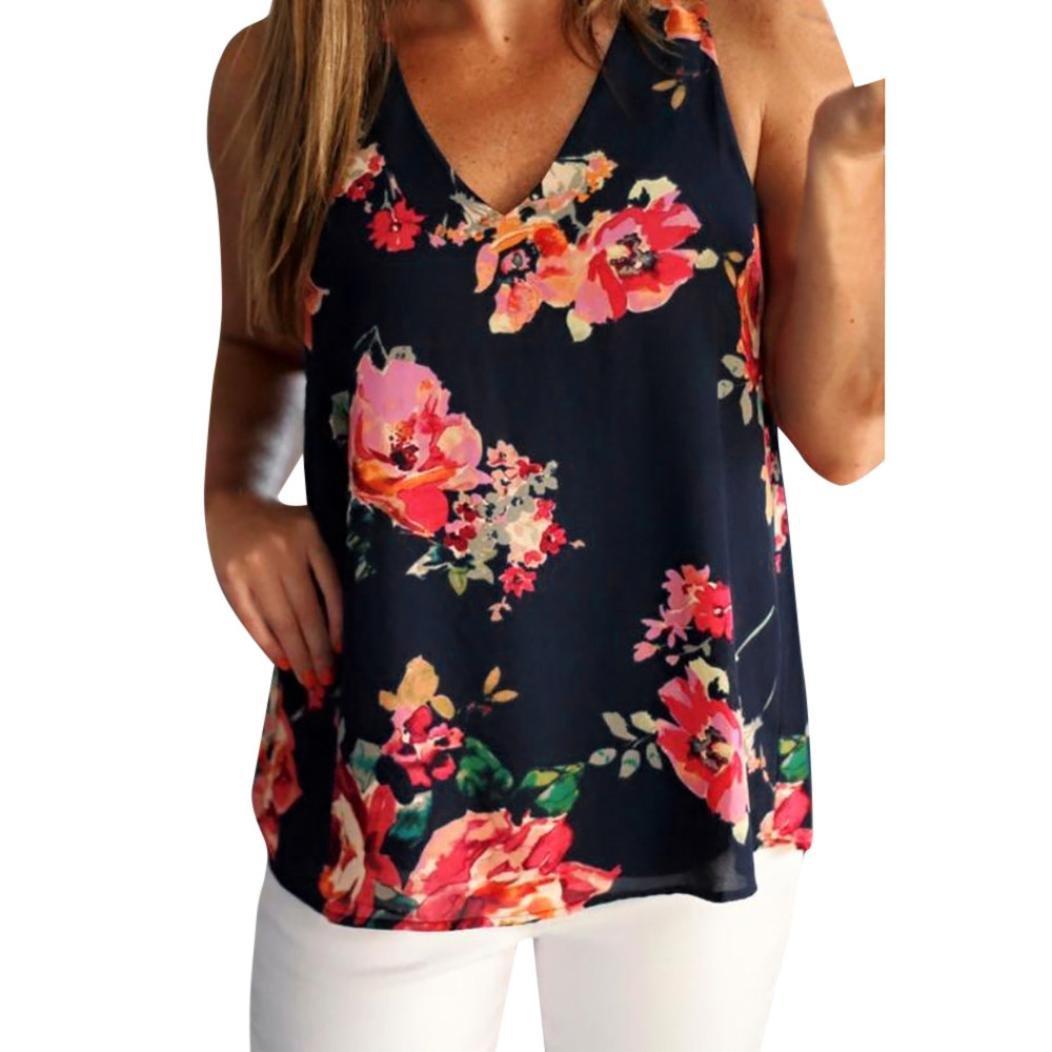 ESAILQ Frauen Chiffon ärmellose Blumen gedruckt Weste Bluse Tank Tops Camis Kleidung
