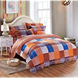 Hla Bed Set 4 Thick Piece Winter Coral Faller Lint-Free Linen Velvet Quilts Were Kit , Philadelphia Memories (6.6 Feet) ,2.0M Bed
