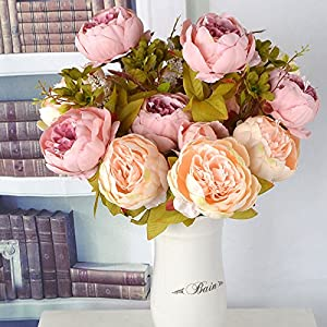DHD 13 Branches Small Fresh Artificial Silk Peony Bouquets Big Flowers For Wedding Party Office Hotel And Home Decoration P5 58