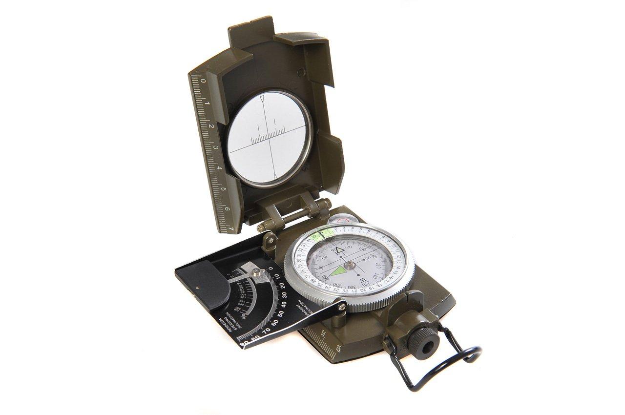 Huntington Kompass MG-XL Camo Militär Marschkompass / Peilkompass Premium Qualität und Metallgehäuse in XL-Größe - Neuheit: Neigungsgradient in Grad und Prozent, professionell flüssigkeitsgedämpft, bundeswehrgrün,