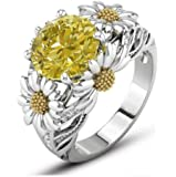 Lzz Fashion Lady 925 Sterling Silver Ring 3.5ct Citrine Daisy Ring Cubic Zirconia Sunflower Flower Wedding Ring Size 6…