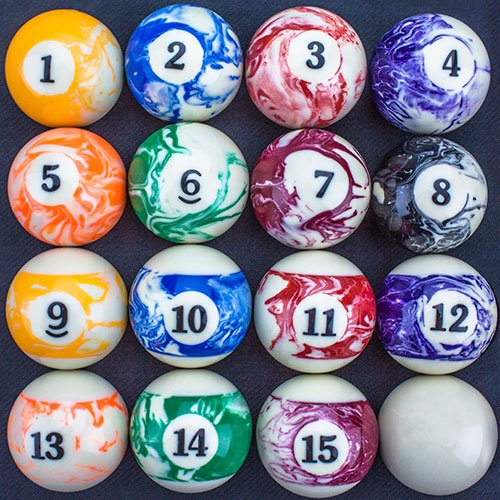 Amazon.com : Felson Billiard Supplies Marbled Pool Table Billiard Ball Set  : Sports U0026 Outdoors