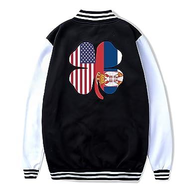American Florida Flag Shamrock Coat Sport Outfit NJKM5MJ Unisex Youth Baseball Uniform Jacket