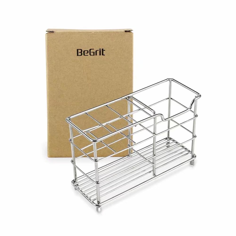 BeGrit Toothbrush Holder Stand Stainless Steel Toothpaste Organizer for Bathroom Vanity Countertops