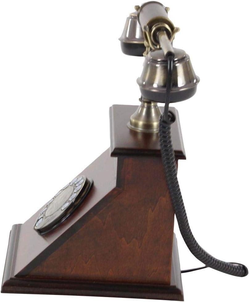 Brown//Brass Deco 79 Wood Vintage Telephone 9 x 7