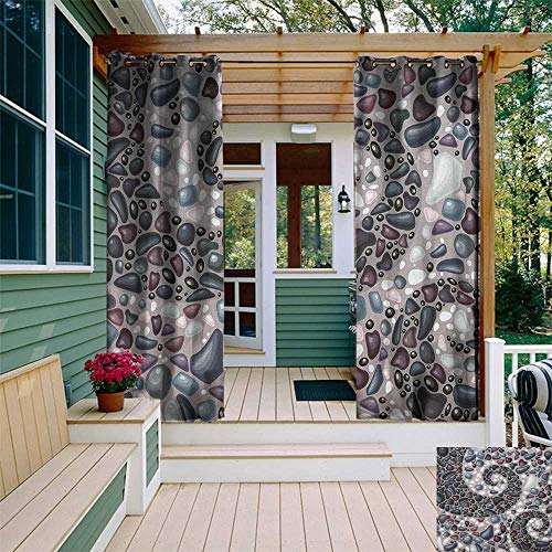 leinuoyi Nature, Outdoor Curtain Ties, Garden Mountains Volcanic Stones Image of Pebbles on Cement Print, for Gazebo W108 x L96 Inch Slate Blue Black and Dimgrey