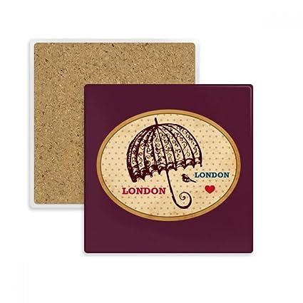 DIYthinker Reino Unido Londres Paraguas Sello Coaster Plaza Taza del sostenedor de Taza de Piedra Absorbente