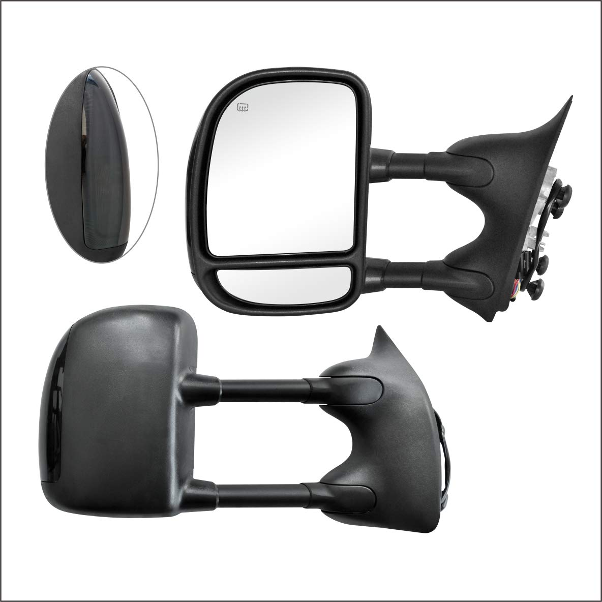 PAIR SET Perfit Zone Towing Mirrors Replacement Fit for 1999-2007 FORD F-250 F-350 F-450 F-550 SUPER DUTY POWER HEATED,W//SMOKE SIGNAL,BLACK