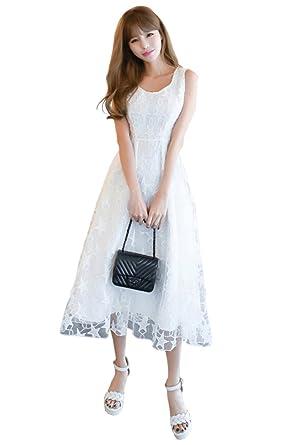 1f3d7848538b Unomatch Women Sleeveless Star Design Lace Party Dress White (X-Small, White )