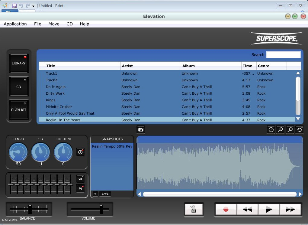 Elevation Software for Music Transcription, Music Practice and Recording