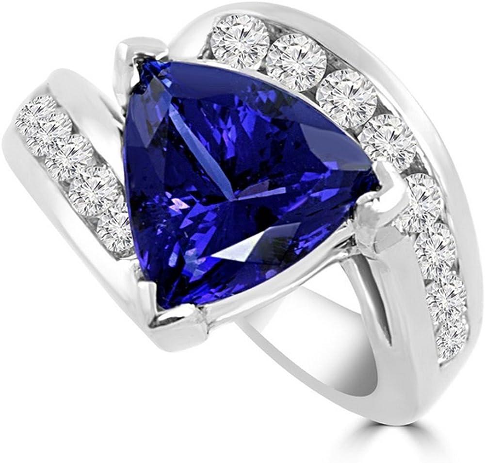 Anillo de compromiso de diamante de 2,80 quilates de zafiro azul diamante piedra preciosa oro blanco de 14 quilates todos los tamaños