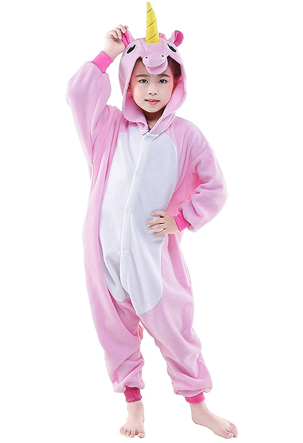DarkCom Kinder Einhorn-Onesies Cartoon Pyjamas Nachtwä sche Halloween Kigurumi Cosplay Kostü me