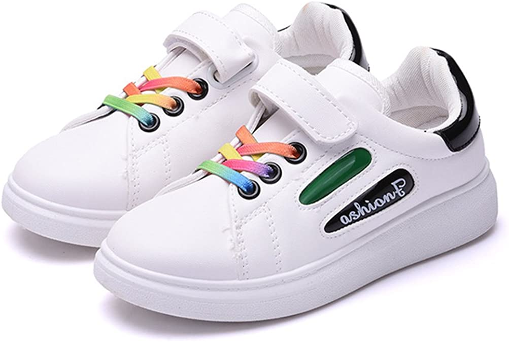 iDuoDuo Kids Rainbow Leather Sport Sneakers with Two Different Closures Toddler//Little Kid//Big Kid