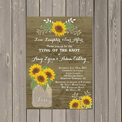 Sunflower Wedding or Bridal Shower Invitations rustic wood design background, Set of 10 5x7 inch invitations with white envelopes