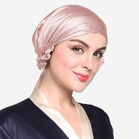 Hell Pflaume Nicole Knupfer 100/% Seide Schlafm/ütze Atmungsaktive Nachtm/ütze Kopfbedeckung Schlaf Cap Hut mit elastischen Band Full Size f/ür Haarpflege