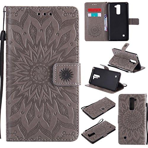 LG Stylus 2 Case, LG G Stylo 2 LS775 Case,LG Stylo 2 Plus Case,SMYTU Premium Emboss Sunflower Flip Wallet Shell PU Leather Magnetic Cover Skin with Wrist Strap Case (Grey)