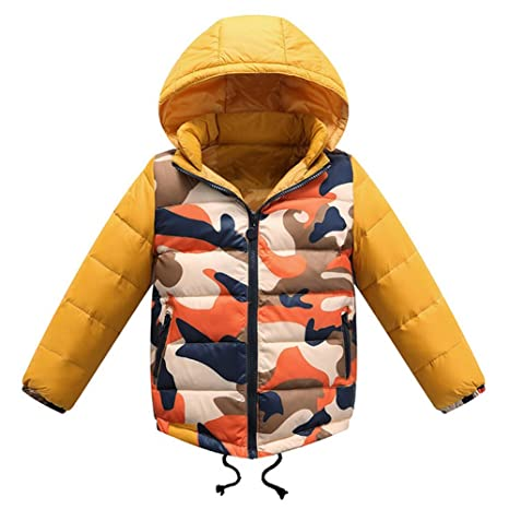 iikids Color del encanto camuflaje chaqueta de pluma coreana niños engrosadas de la moda Abrigo del