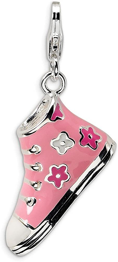 Beautiful Sterling silver 925 sterling Sterling Silver Rhodium-plated 3-D Enameled Graduation Cap w//Lobster Clasp