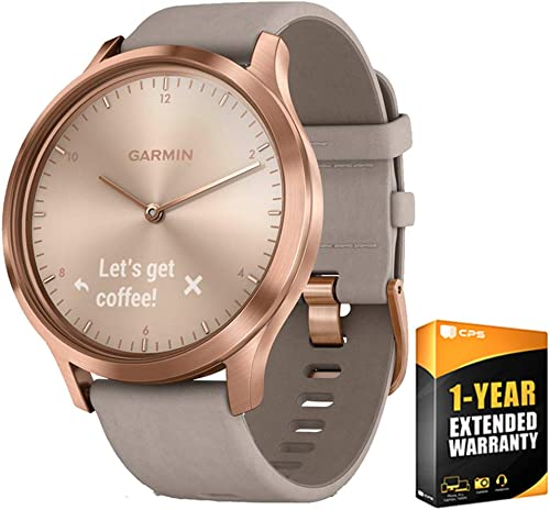 Garmin Vivomove HR Premium Rose Gold w Gray Suede Band Extra Band Granite Blue 010-01850-19 with 1 Year Extended Warranty