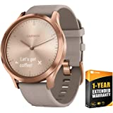 Garmin Vivomove HR Premium Rose Gold w/Gray Suede Band + Extra Band Granite Blue (010-01850-19) with 1 Year Extended…