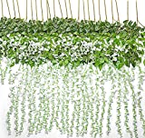 TRvancat Artificial Wisteria Hanging Vine 12 Pack 3.6FT/pcs, Fake Silk Flowers in Natural Chain Garland for Outdoor Wedding Ceremony Arch Party Home Garden Decor (White)