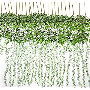TRvancat Artificial Wisteria Hanging Vine 12 Pack 3.6FT/pcs, Fake Silk Flowers in Natural Chain Garland for Wedding Ceremony Arch Party Home Garden Decor (White) 59