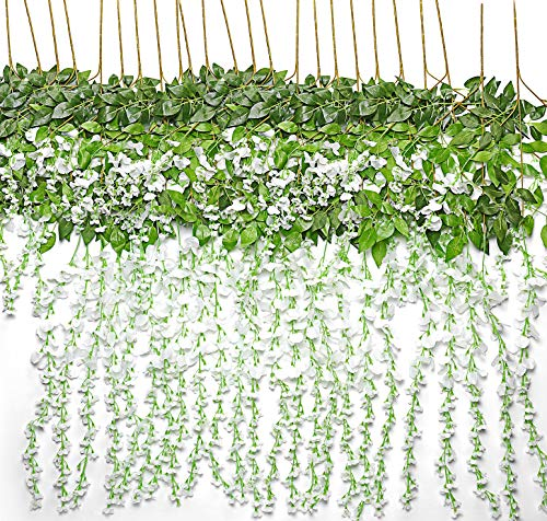 TRvancat Artificial Wisteria Hanging Vine 12 Pack 3.6FT/pcs, Fake Silk Flowers in Natural Chain Garland for Wedding Ceremony Arch Party Home Garden Decor (White) (Fall Door Decor Front Pinterest)