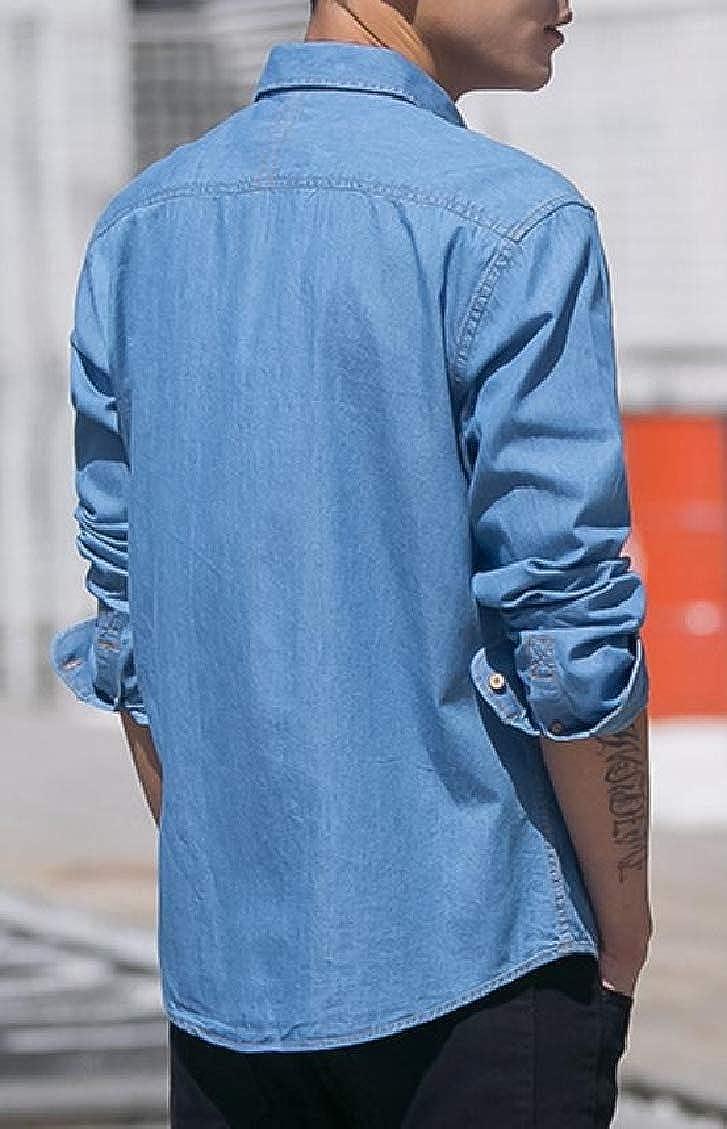 Hajotrawa Men Long Sleeve Tops Retro Turn Down Denim Button Up Shirts