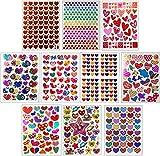 Jazzstick 10-Sheet Valentines Heart Stickers Glitter Scrapbook for Kids Value Pack Bulk 01