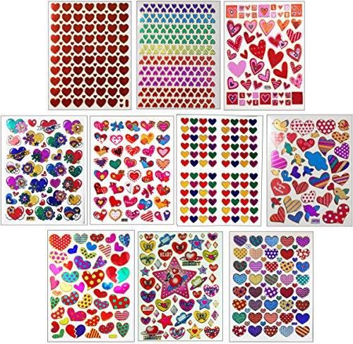 Stickers Value Pack (Jazzstick 10-Sheet Valentines Heart Stickers Glitter Scrapbook for Kids Value Pack Bulk 01)