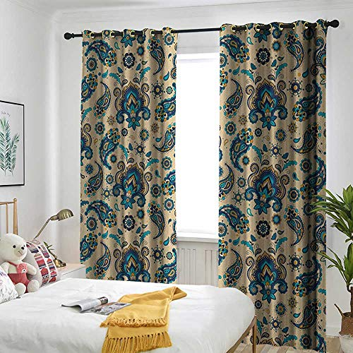 TRTK Bedroom Curtains Insulated Blackout Curtain Paisley,Colorful Vintage Floral Design Pattern with Oriental Paisley Retro Design Yellow Blue Cream