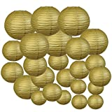 Just Artifacts Decorative Round Chinese Paper Lanterns 24pcs Assorted Sizes (Color: Gold)