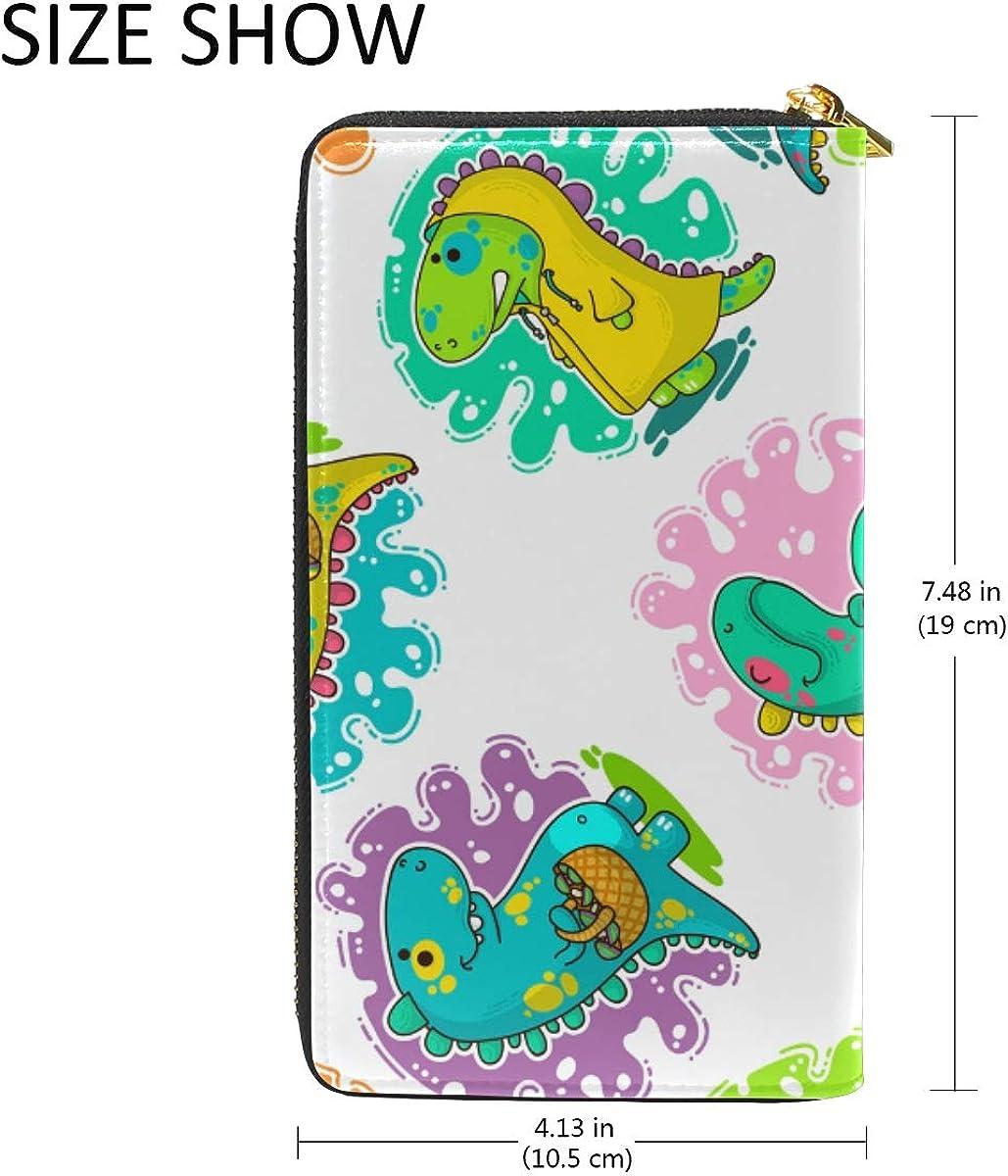 Cute Chameleon Dinosaur Leather Womens Zipper Wallets Clutch Coin Case