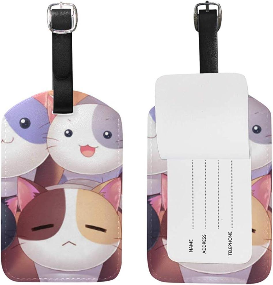 Cute Cats Kitty Equipaje de Cuero Equipaje Maleta Etiqueta de identificación Etiqueta para Viajes (2 Piezas)