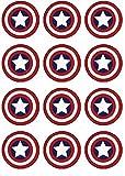 12 EDIBLE Captain America Cupcake Toppers- Captain America cupcakes, Captain America Birthday Party. These are edible!