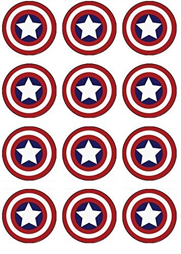 12 EDIBLE Captain America Cupcake Toppers- Captain America cupcakes, Captain America Birthday Party. These are -