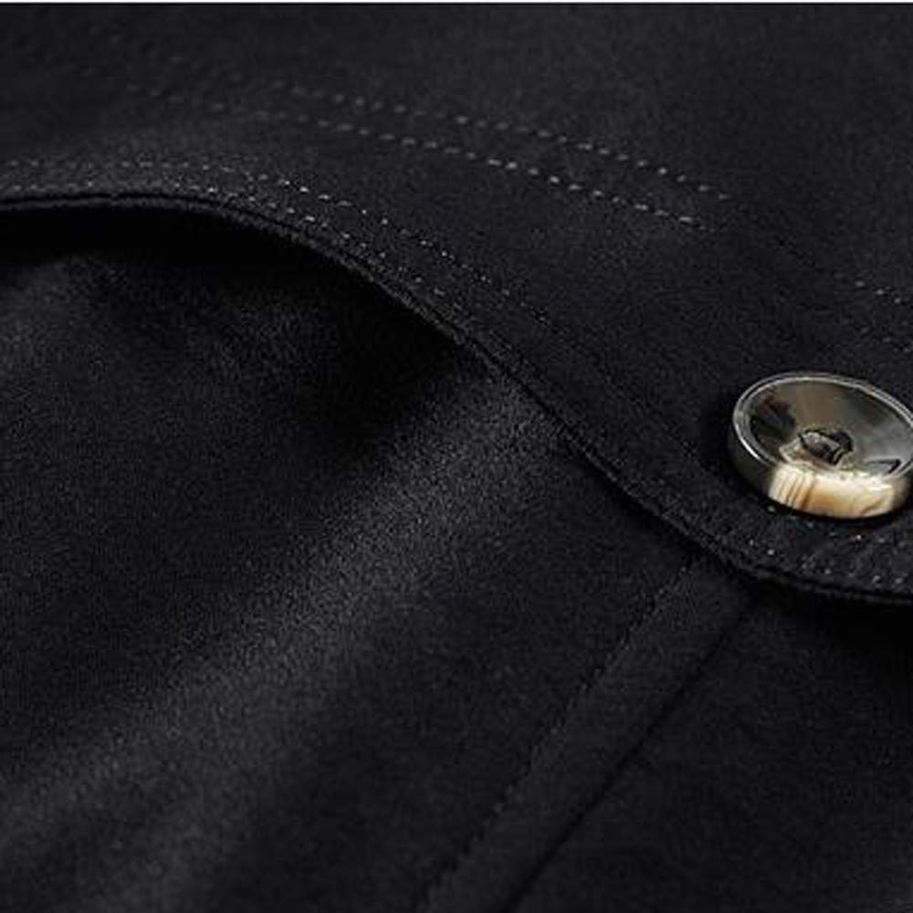 Mens Leather Jacket with Hoodie.Men Winter Warm Jacket Overcoat Outwear Slim Long Trench Buttons Coat