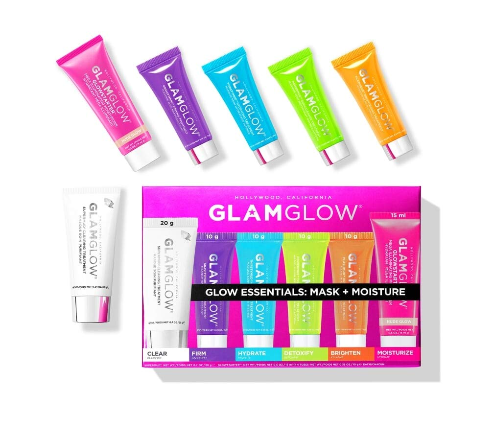 GLAMGLOW Glow Essentials Mask + Moisture Travel Set - SUPERMUD (0.7 oz), GLOWSTARTER NUDE (0.5 oz), GRAVITYMUD (0.35 oz), THRISTYMUD (0.35 oz), POWERMUD (0.35 oz) & FLASHMUD (0.35 oz)