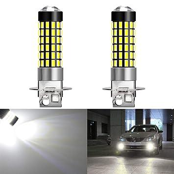 KaTur 2pcs 900 lúmenes H3 Base Super Brillante 3014 78SMD Lente Bombillas LED Conducción de automóviles