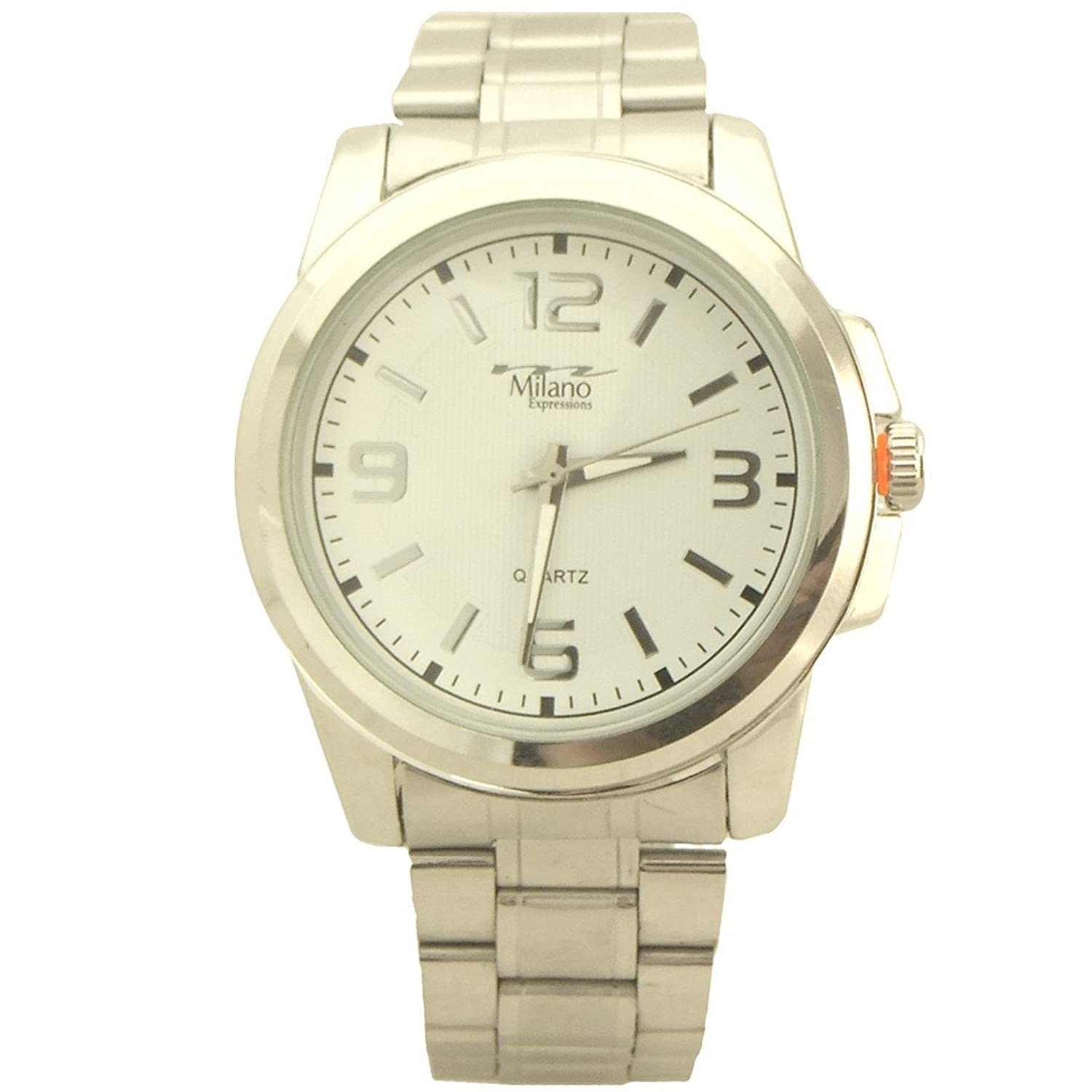 Amazon.com: Milano Expressions Dress style Quartz Mens Metal Watch white and silver tone - 1: Watches