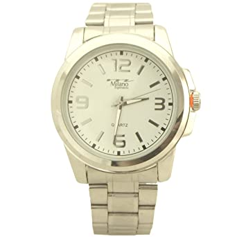 Milano Expressions Dress style Quartz Mens Metal Watch white and silver tone - 1
