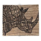 Society6 Wood Rhino Black 88'' x 104'' Blanket
