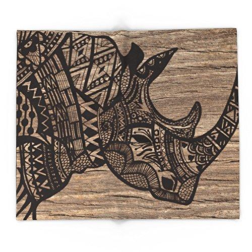 Society6 Wood Rhino Black 88'' x 104'' Blanket by Society6 (Image #4)