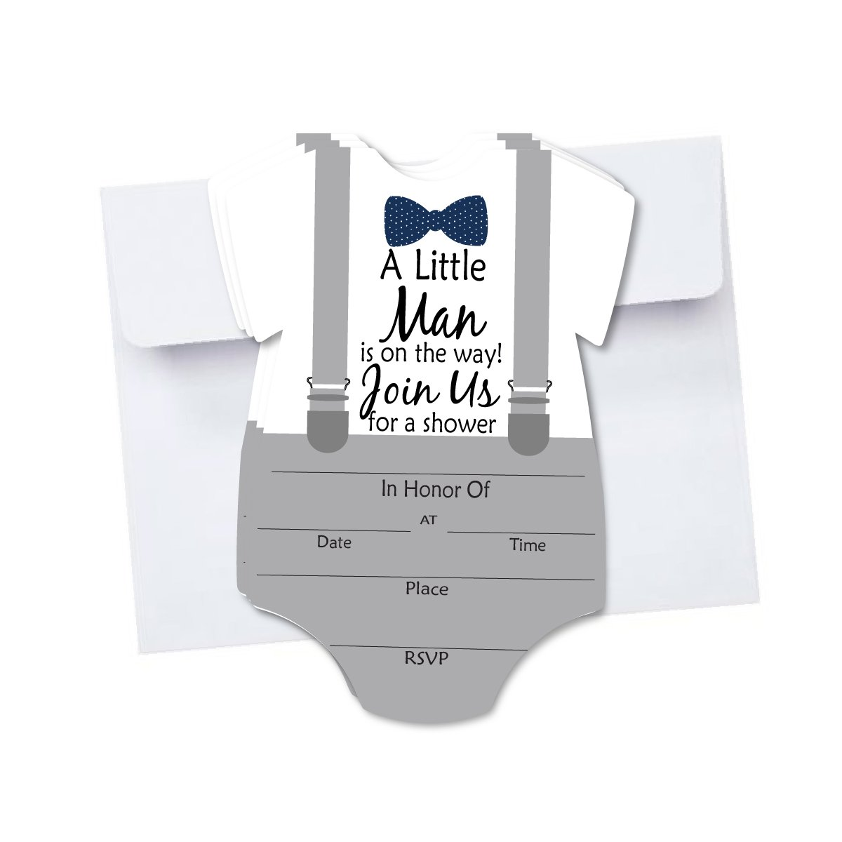 Little Man Baby Shower Blank Invites 10 Pack Fill In Invitations with Envelopes for Baby Shower Bowtie and Suspenders Gray with Navy
