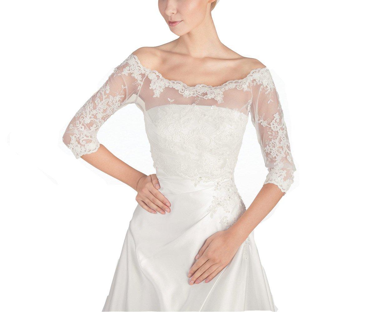 GEORGE BRIDE Women's Wedding Bolero Lace Jacket with Medium Sleeve Lace Jackets (XL-Short Sleeve, Ivory)