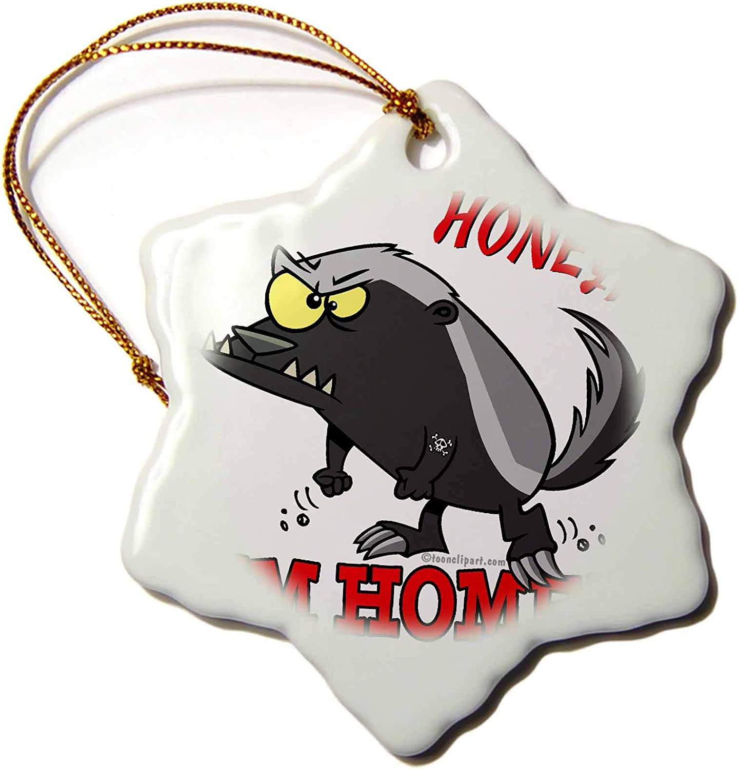 3dRose Dooni Designs Random Toons - Honey Badger Honey Im Home - Ornaments (ORN_104211_1)