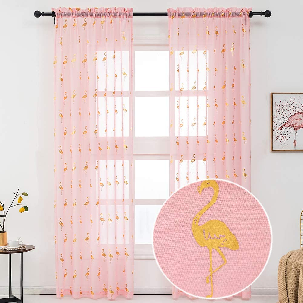Kotile Pink Sheer Curtains 84-Inches Long - Metallic Gold Foil Print Flamingo Curtains for Girls Bedroom Rod Pocket Sheer Window Curtains 2 Panels for Living Room, 52 x 84 Inches, 1 Pair, Gold Pink