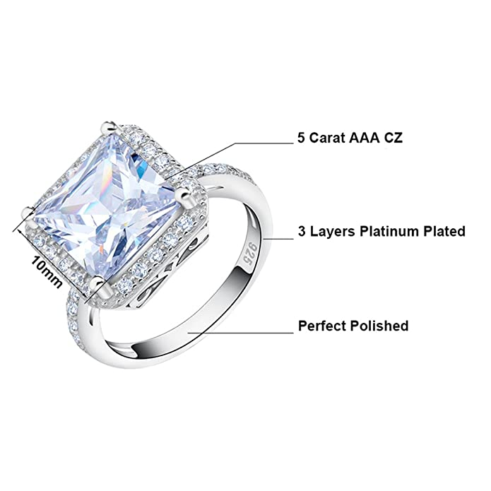 Orsa Jewels Big Square Engagement Ring Platinum Plated with 5ct.Princess Cut AAA Austrian CZ Crystal Ring For Women Z9t0n32GwD