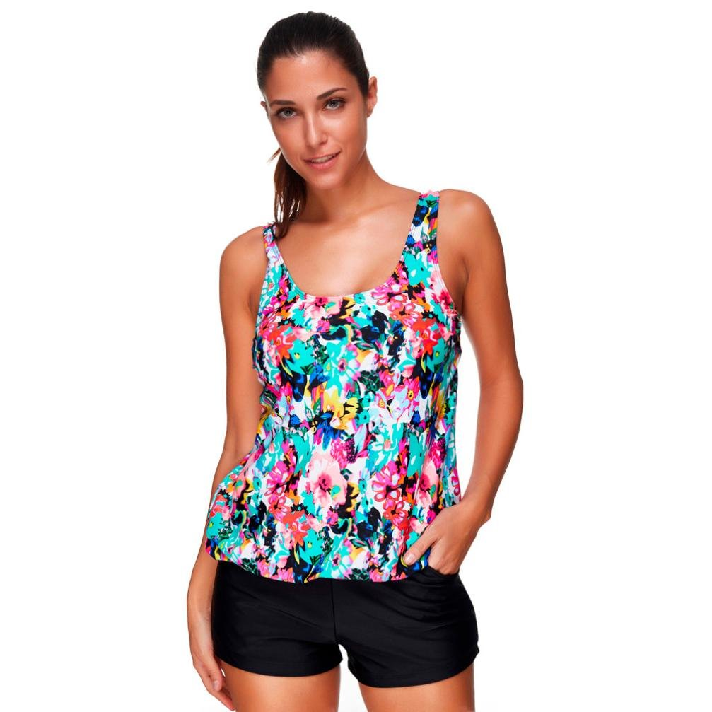 WOCACHI Women Swimsuit 2018 New Tankini Set Two Piece Swimwear Tank Tops